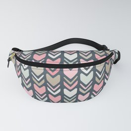 Cream Pink and Navy Chevron Arrows Fanny Pack