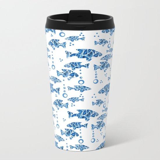Blue fish. Metal Travel Mug