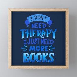 Therapy Vs. Books in Blue Framed Mini Art Print