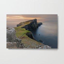Neist Point Sea Coast Horizon Coastline Ocean Metal Print
