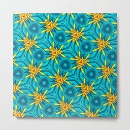 Birds of Paradise Floral Pattern \\ Unique Tropical Vibes \\ Green Yellow Blue Orange Color Scheme Metal Print
