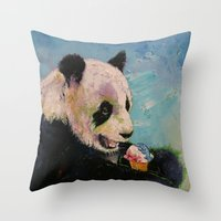 ice cream Throw Pillows featuring Ice Cream by Michael Creese