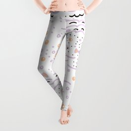 Little Lilac Fish in the Sea , Waves and Water with Tiny School of Fishes Pattern Leggings