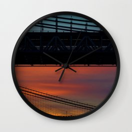 Sunset over New York City Bridge (Color) Wall Clock