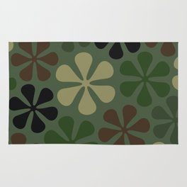 Abstract Flower Camouflage Rug