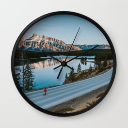 Two Jack Lake during sunrise Wall Clock