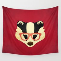 badger Wall Tapestries featuring Hipster Badger: Red by Jenny Lloyd Illustration