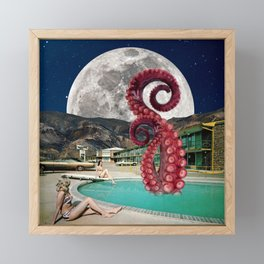 Octopus in the pool Framed Mini Art Print