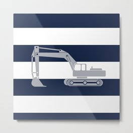 Gray excavator with navy stripes Metal Print
