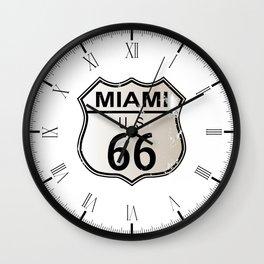 Miami Route 66 Wall Clock