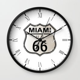 Miami Route 66 Wall Clock