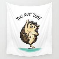 motivational Wall Tapestries featuring Motivational Hedgehog by Samantha DeLuca