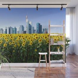 Frankfurt Germany Skyline Sunflower Field Wall Mural