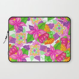 Colorful neon pink green floral handdrawn pattern Laptop Sleeve