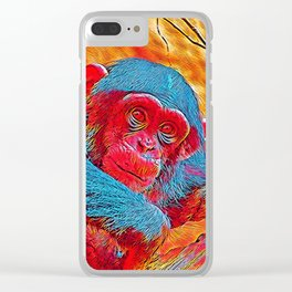 Popular Animals - Baby Chimp Clear iPhone Case