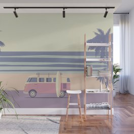 Surfer Graphic Beach Palm-Tree Camper-Van II Wall Mural