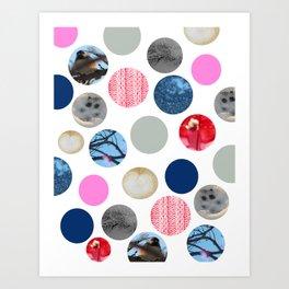 Winter Poka Dot Collage Art Print