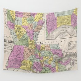 Vintage Map of Louisiana (1853) Wall Tapestry