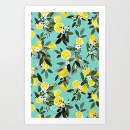 Summer Lemon Floral Art Print