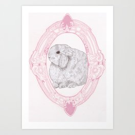 Cameo Bunny Art Print