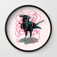 crow Wall Clocks featuring Crow by Devin McGrath
