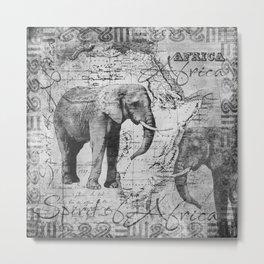 African Spirit Vintage Elephant black white Metal Print
