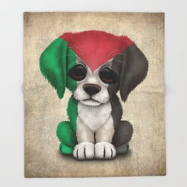 Cute Puppy Dog with flag of Palestine Throw Blanket