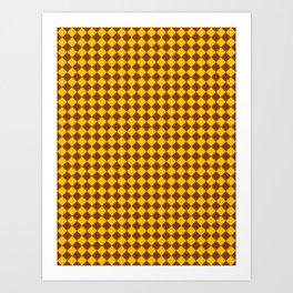 Amber Orange and Chocolate Brown Diamonds Art Print