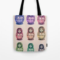 russia Tote Bags featuring Russia by Galvanise The Dog
