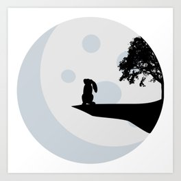 Bunny and Moon Silhouette Art Print