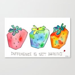 Difference Is Not Wrong watercolor painting strawberry illustration fruits nursery kitchen Canvas Print