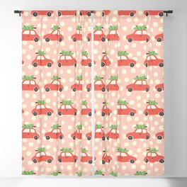 Red Vintage Holiday Christmas Cars Blackout Curtain