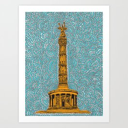 Siegessäule Drawing Meditation - Blue Art Print