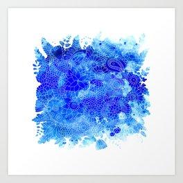 Blue Floral Pattern 02 Art Print