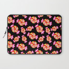 Cute lovely sweet festive decorative candy pattern on black background. Candy store. Laptop Sleeve