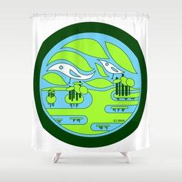 birdland wetland ecopop Shower Curtain