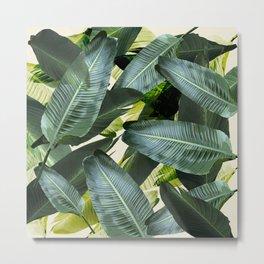 Tropical palm leaf, retro Metal Print
