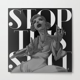 Woman. Portrait. Stop. Print. Metal Print
