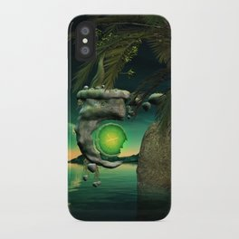 The flying rock with clock iPhone Case