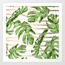 Simply Tropical White Gold Sands Stripes and Palm Leaves Art Print