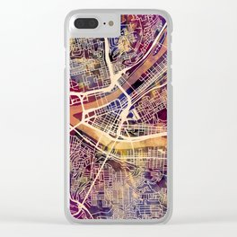 Pittsburgh Pennsylvania City Street Map Clear iPhone Case