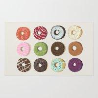doughnut Area & Throw Rugs featuring Doughnut assortment art print by kongkongdigital