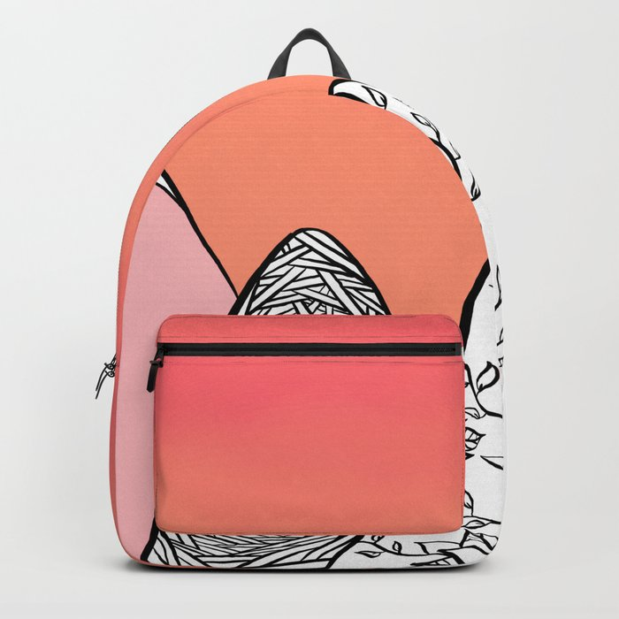 Modern abstract pink coral watercolor sky black white geometric floral mountains illustration Backpack