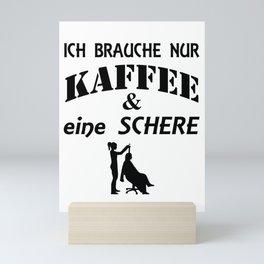 Kaffee - Schere - Haare - Friseur - Frisur Mini Art Print