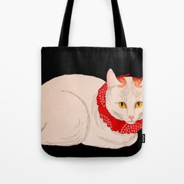 Shotei Takahashi White Cat In Red Outfit Black Background Vintage Japanese Woodblock Print Tote Bag