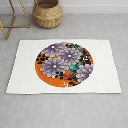 Japanese Circle 4 Chrysanthemum Flower Rug