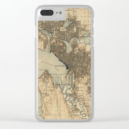 Vintage Map of Seattle Washington (1908) 2 Clear iPhone Case