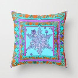 BLUE ICELANDIC STYLE BLUE-LILAC SNOWFLAKE ART Throw Pillow
