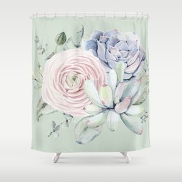 Mint Green + Pink Delight Succulents Shower Curtain