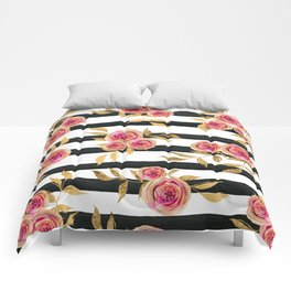Girly Modern Pink Gold Flowers Black White Stripes Comforters